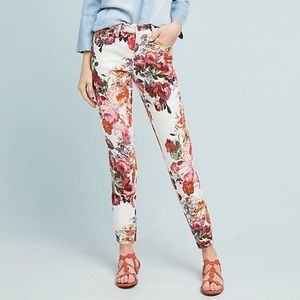 PILCRO Floral Print Mid Rise Skinny Jeans